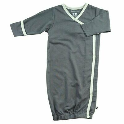 Babysoy Dark Grey Basic Kimono Gown Sleep Sac-Newborn