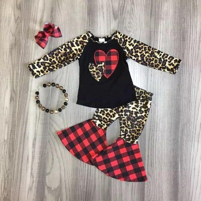 Heart Plaid Leopard Pant Set (includes necklaces & bow)