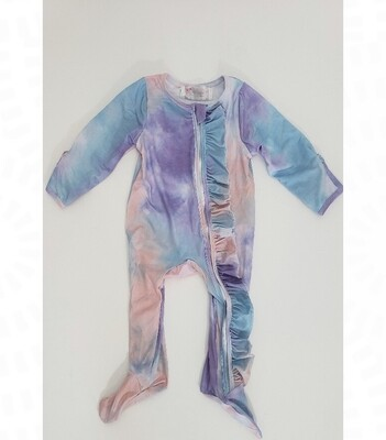 Pastel Tie Dyed Footed Baby Romper (size 0-6 months)