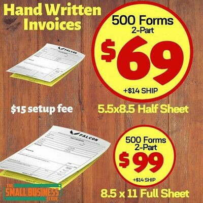 Hand-Written Invoices, 2-part self duplicating