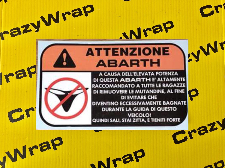 """Sticker """"ATTENZIONE ABARTH"""""""