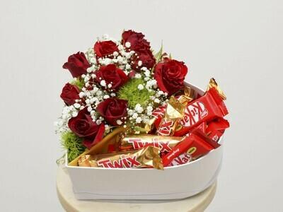 Caixa complementos e rosas