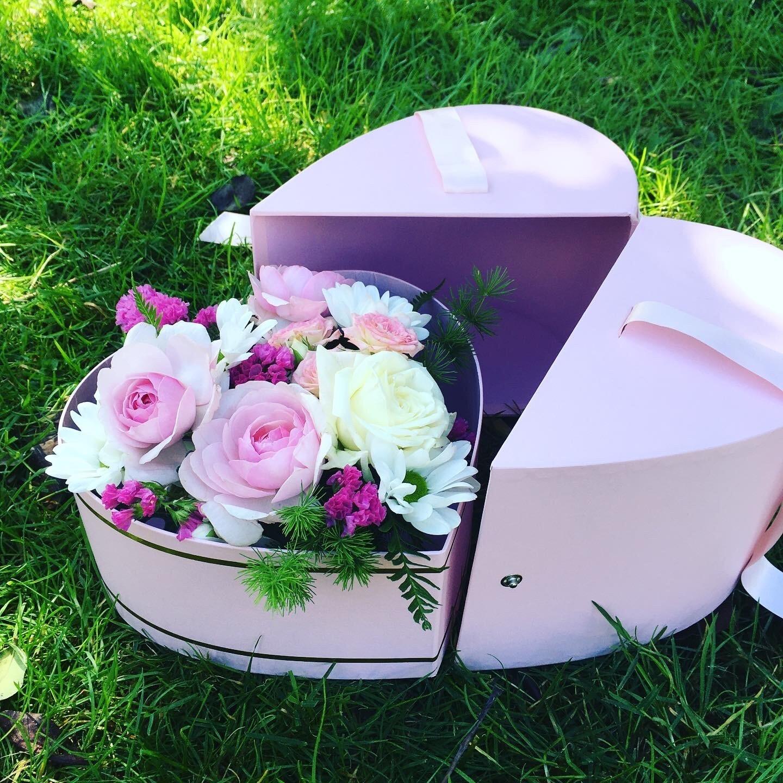 Caixa coração rosa