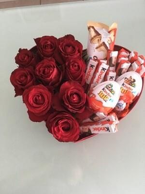 Caixa coração e chocolates