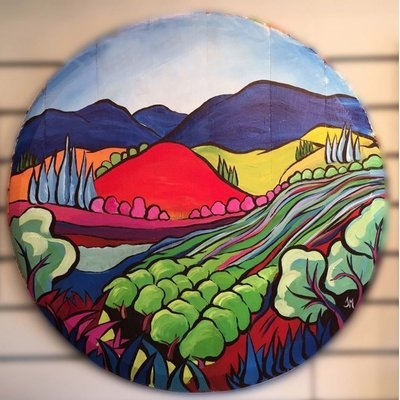 Wine Barrel Lid Art
