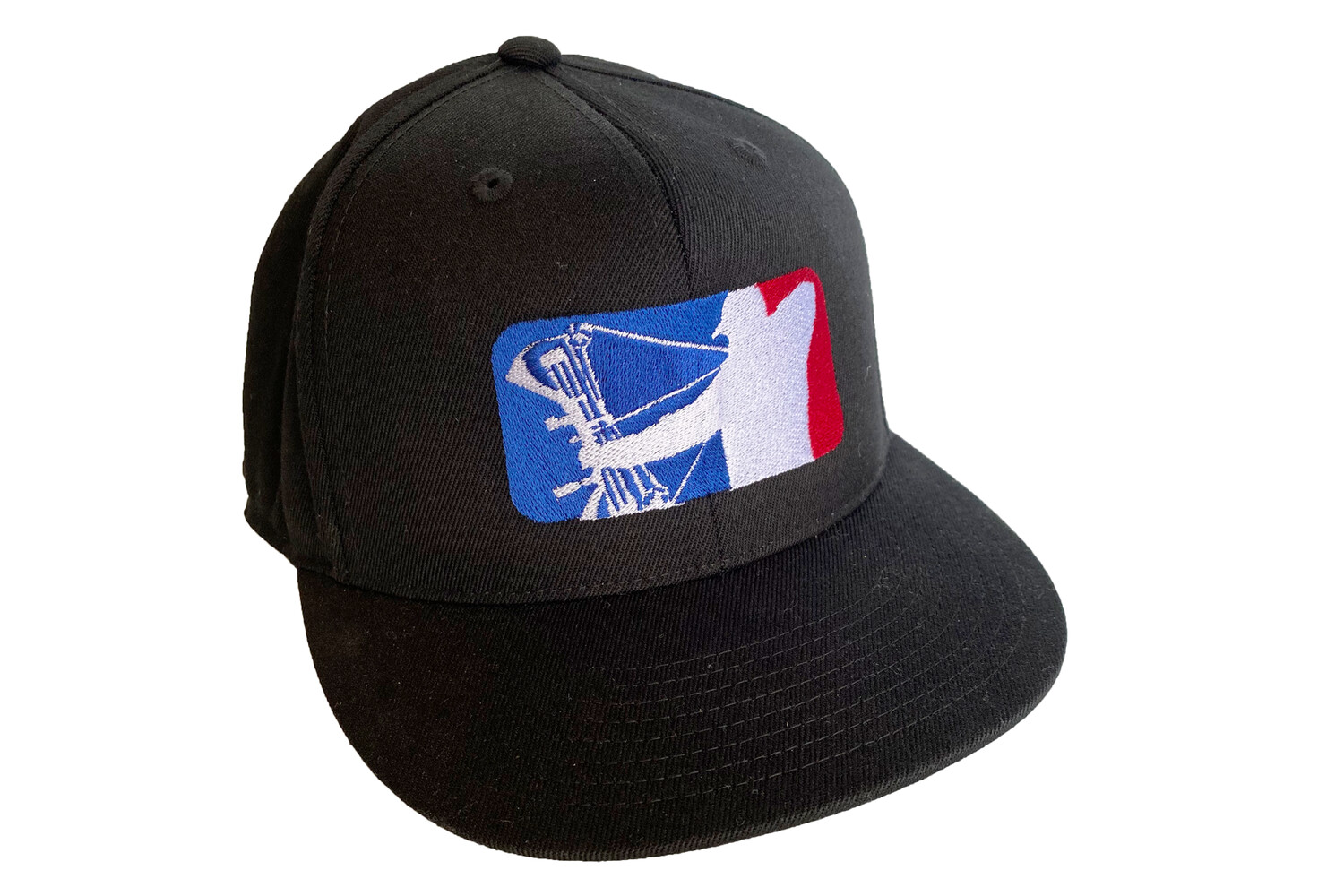 Black Flex Fit Hat with Red/Blue Logo