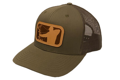 Military Green Richardson Hat w/ Leather Patch Logo