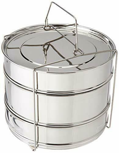 Chiboz Cookware 3 Tier 8 Quart XL Instant Pressure Cooker Stackable Steamer Insert Pans - Pot in Pot Accessories Compatible with 8 Qt Instant Pot