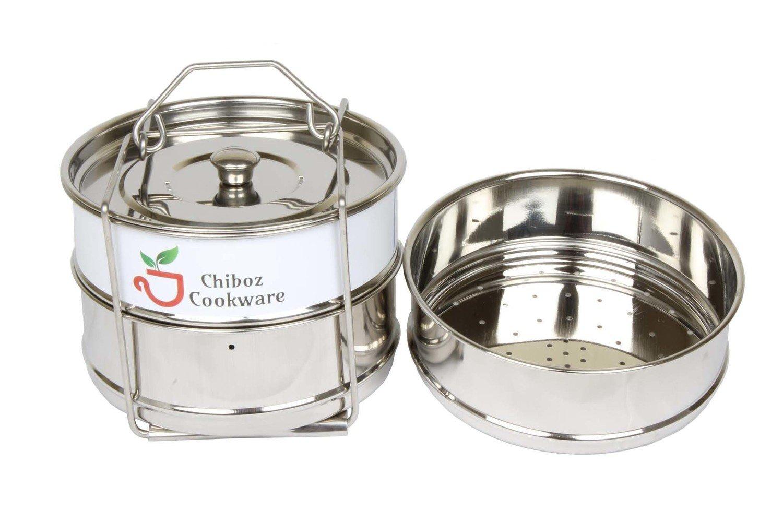 Chiboz Cookware 6 Quart Instant Pressure Cooker Stackable Steamer Insert Pans - Pot in Pot Accessories Compatible with 6 Qt Instant Pot