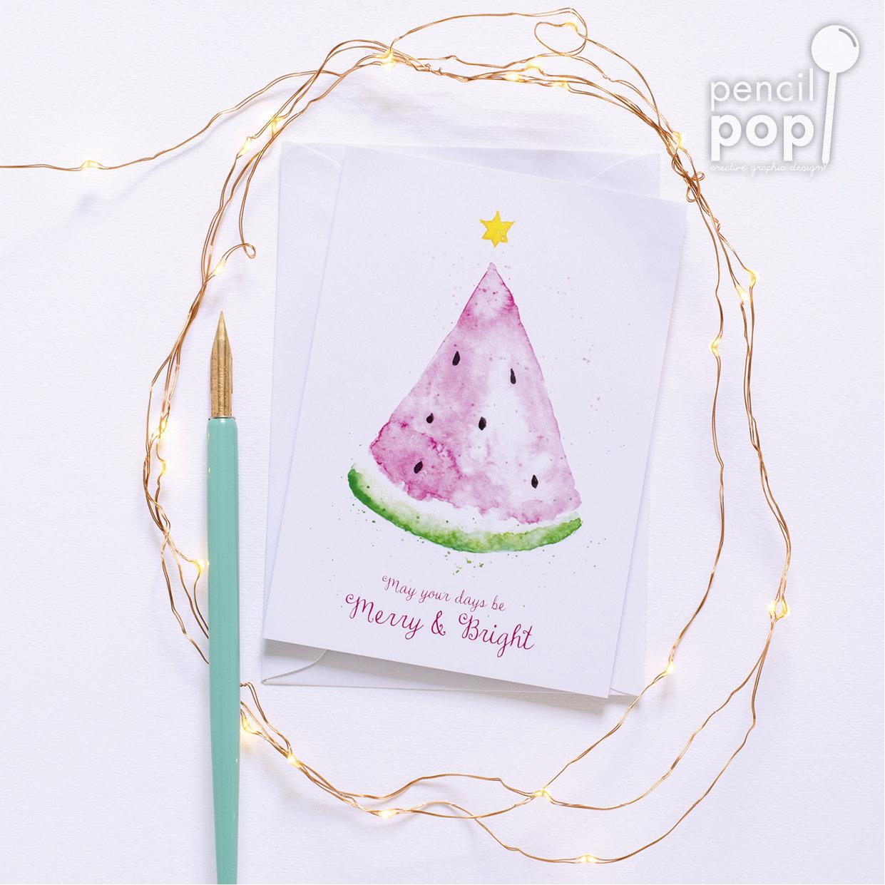 Greeting Card - Watermelon Christmas Tree