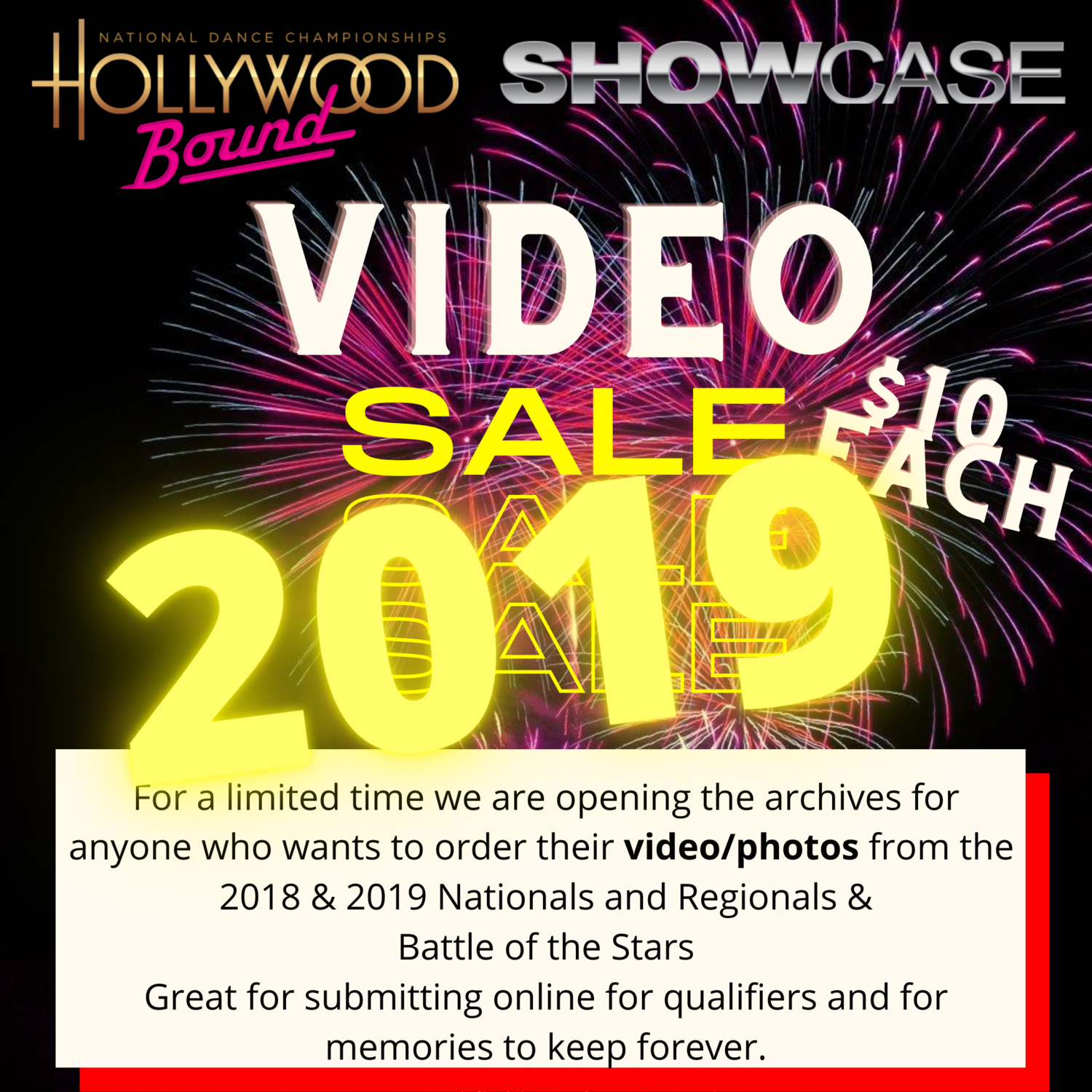 Video orders 2019 events only