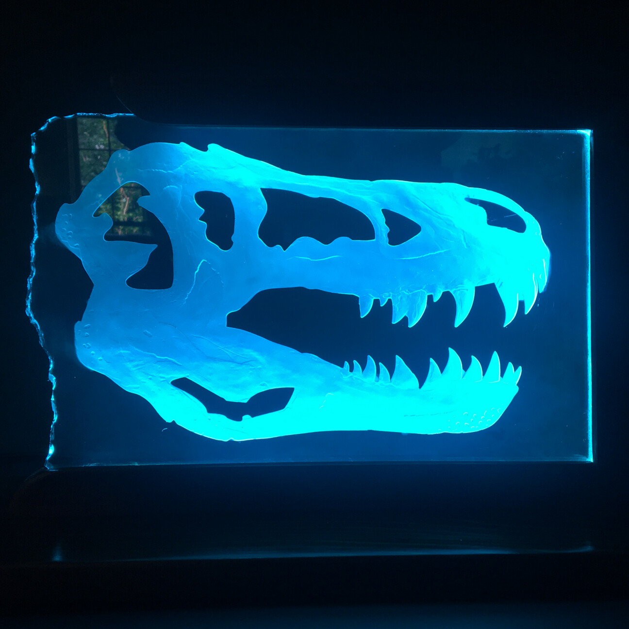 Carved Glass Tyrannosaurs Skull
