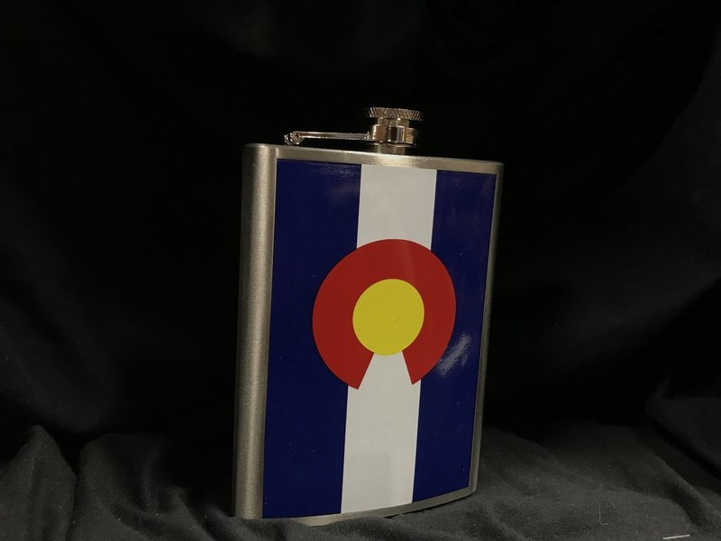 Stainless Steel Hip Flask w/ Colorado Flag on it
