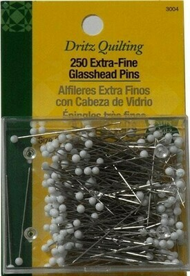 Extra-Fine Glass Head Quilting Pins