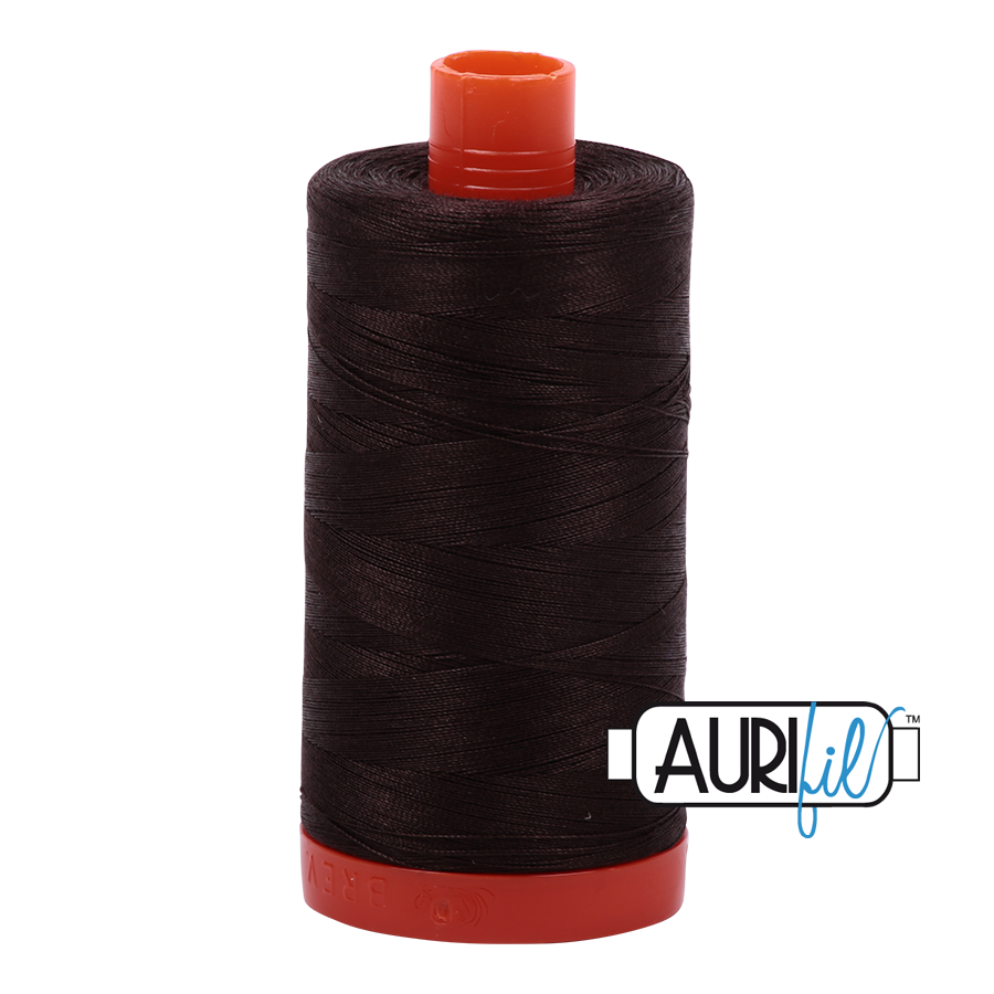 Col. #1130 Very Dark Bark - Aurifil 50 Weight