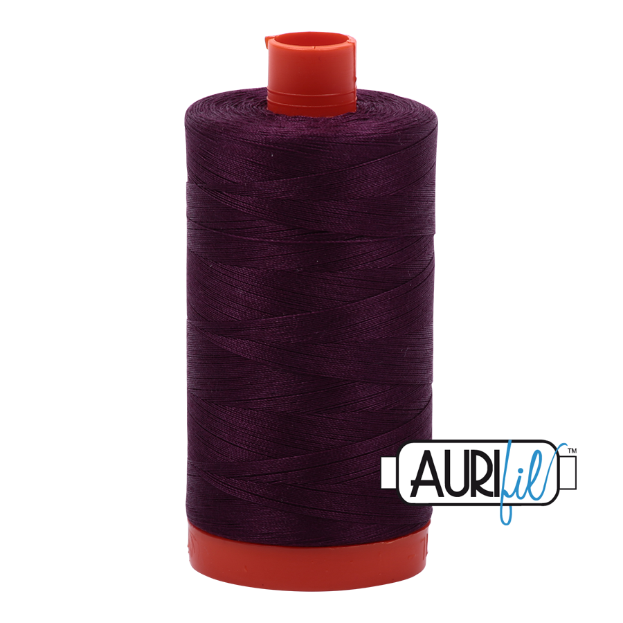 Col. #1240 Very Dark Eggplant - Aurifil 50 Weight