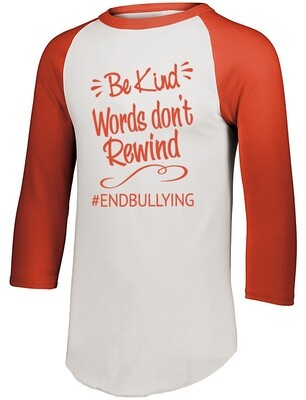 BE KIND Words Don't Rewind Augusta Sportswear 3/4 Sleeve Baseball Jersey