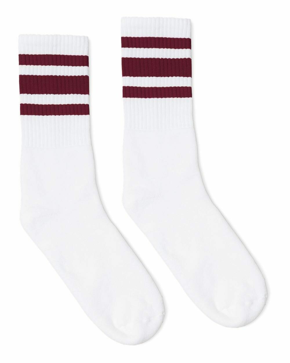 St. James Saints Striped Crew Socks - White/Maroon (PAIR)
