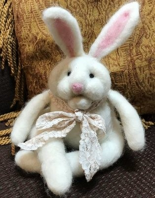 Needle Felted White Rabbit