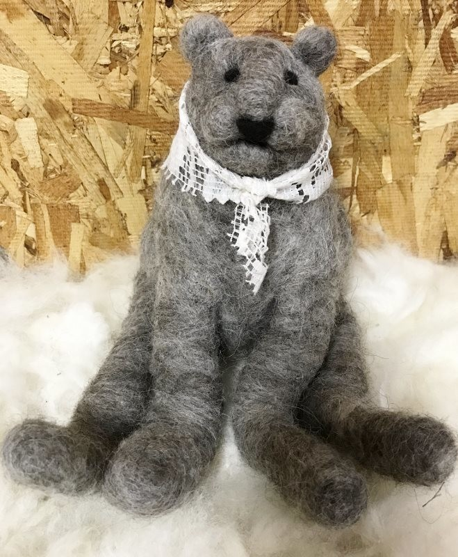 Needle Felted Grey Bear with Lace Scarf