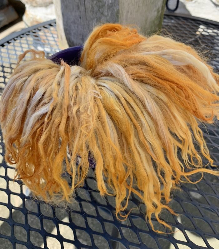 Suri Alpaca Locks, 7 Inches, Pumpkin, Maleenda