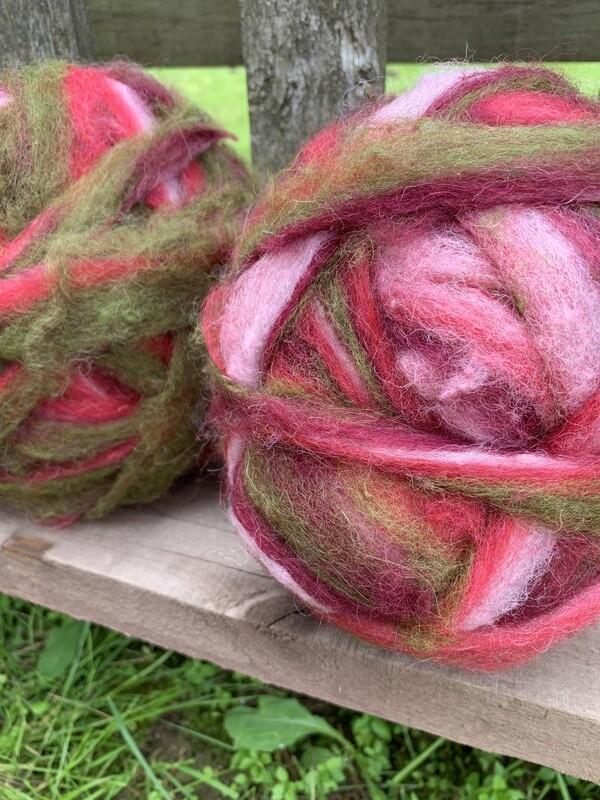 Alpaca Wool Roving - Cranberry Delight
