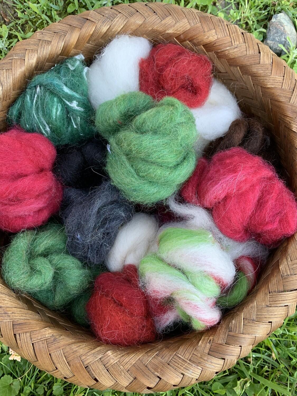 Alpaca Wool Roving Sampler - Christmas Colors