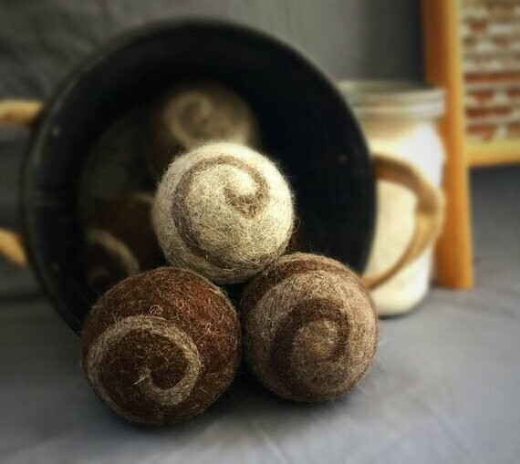 3 Ovella Wool Dryer Balls - Swirl Natural Collection
