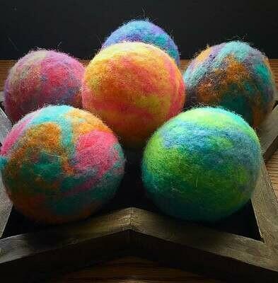 3 Ovella Wool Dryer Balls - Tye Dye Collection