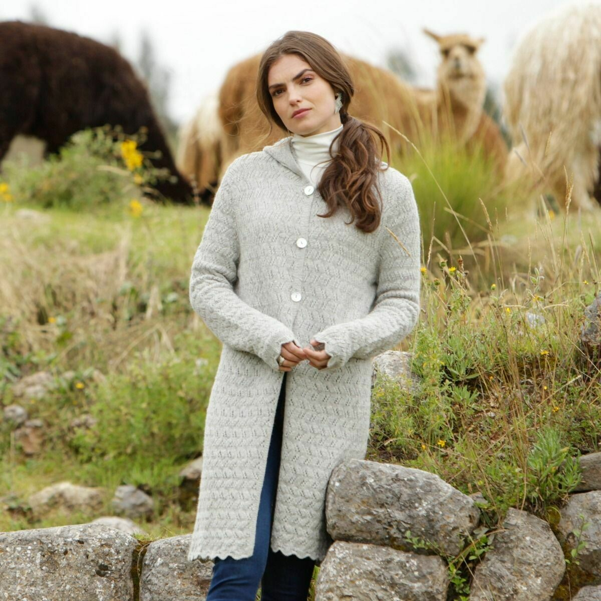 Hooded Lace Alpaca Cardigan