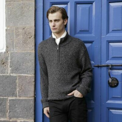 Men's Half Zip Alpaca Pullover Sweater