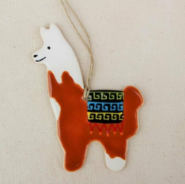 Brown and White Llama Ornament