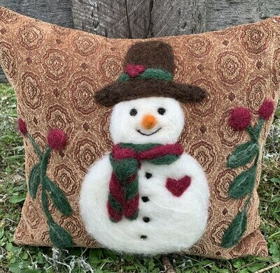 Needle Felted Snowman Pillow