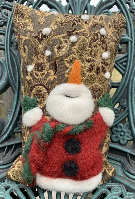 Needle Felted Snowman Tossing Snowballs Pillow