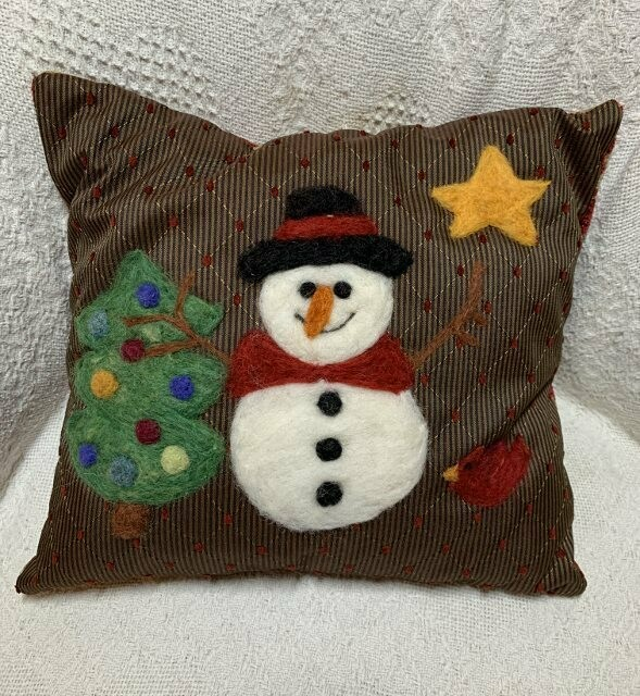 Needle Felted Snowman and Star Pillow