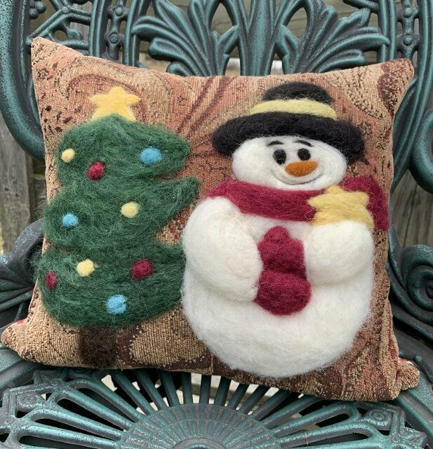 Needle Felted Snowman and Tree Pillow