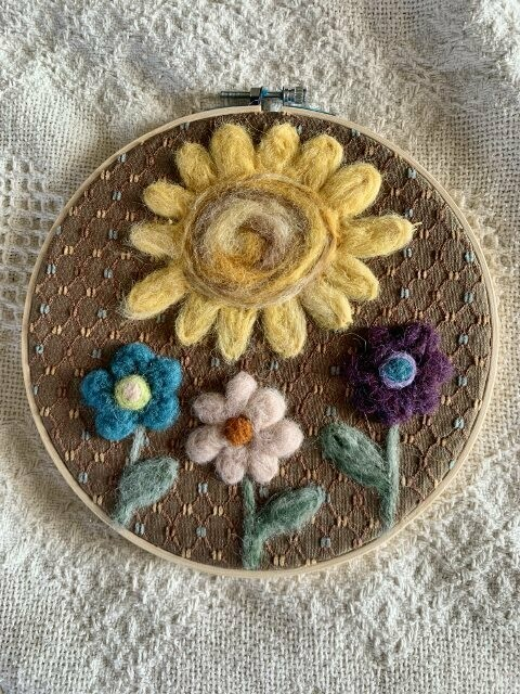 Felted Hoop Art - Sun and Flowers