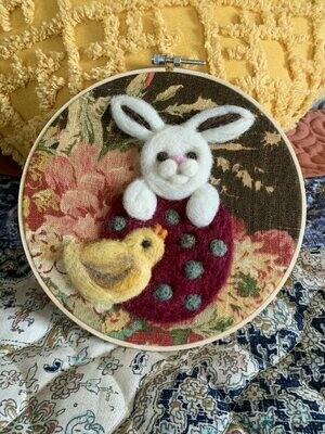 Felted Hoop Art - Bunny, Chick, and Egg