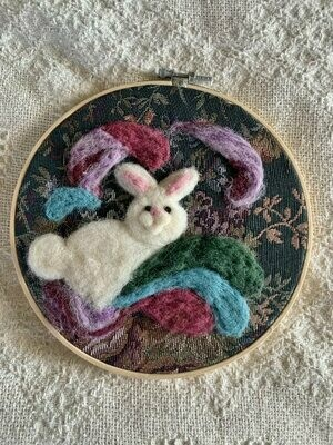Felted Hoop Art - White Bunny