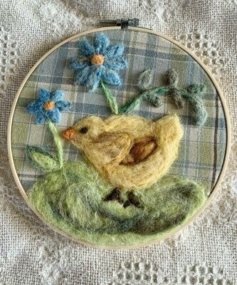 Felted Hoop Art - Chick and Blue Flowers