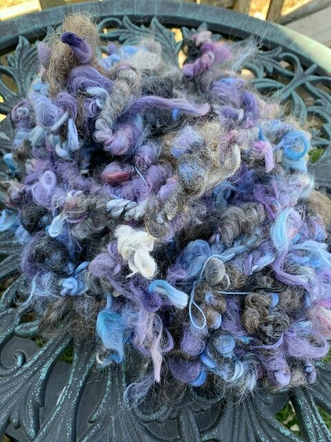 Suri Alpaca Mohair Art Yarn - Purple, Blue, Grey
