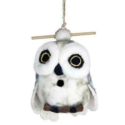 Felt Birdhouse - Snowy Owl