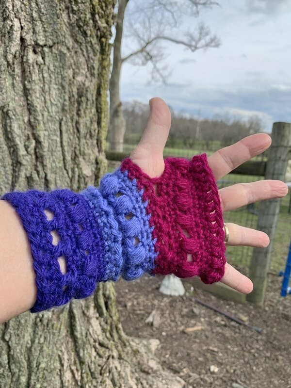 Bands of Color Fingerless Gloves