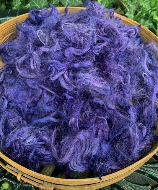 Hand-Dyed Suri Alpaca Fiber, 4 Inches, Mulberry