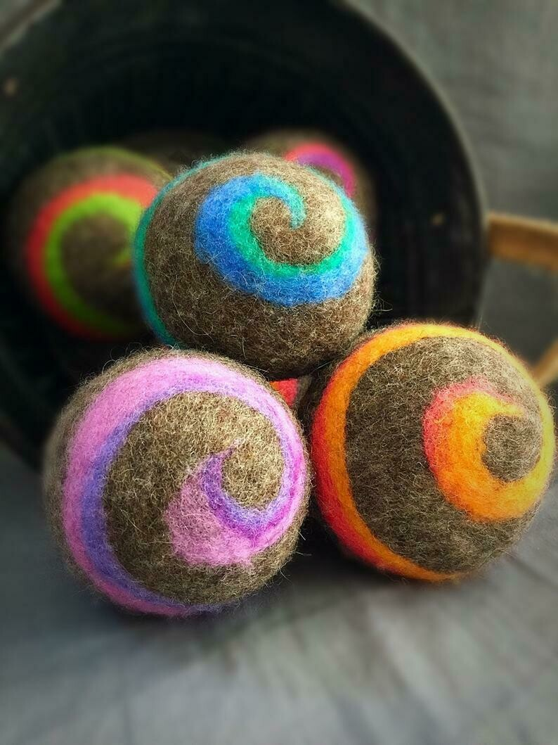 3 Ovella Wool Dryer Balls - Swirl Color on Natural Collection