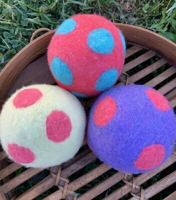 3 Ovella Wool Dryer Balls - Polka Dot Color Collection