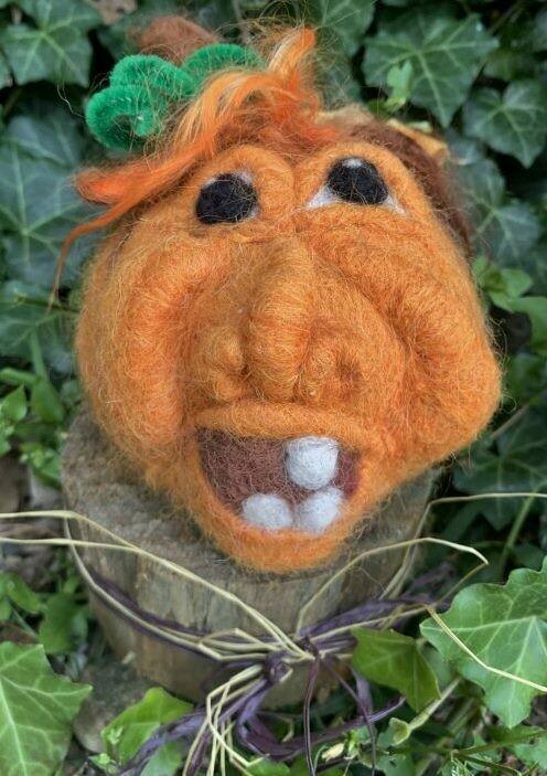 Needle Felted Pumpkin Face