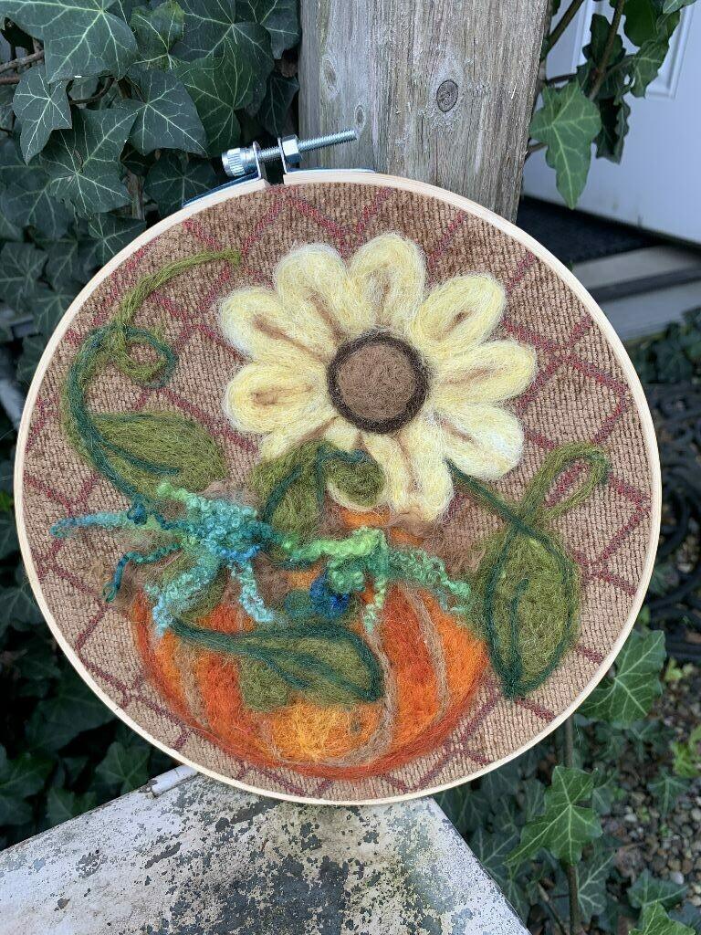 Felted Hoop Art - Pumpkin and Yellow Flower