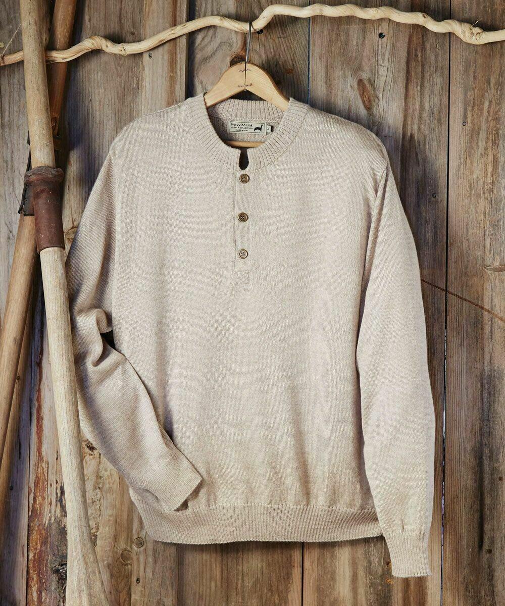 Men's Button Alpaca Crewneck