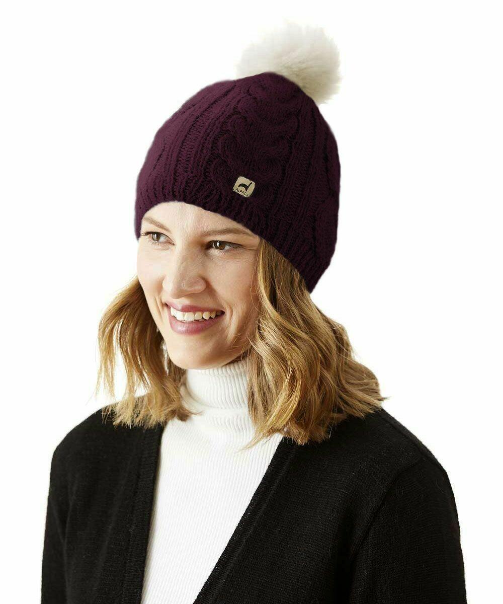 NEW Pom-Pom Cable Alpaca Hat